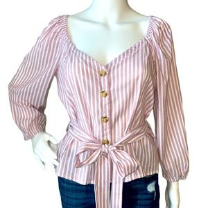 EUC Abercrombie & Fitch Belted Peasant Top